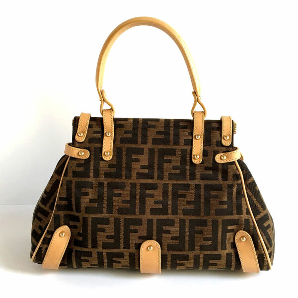 Fendi Zucca Magic Tan/Brown Small Signature Canvas Top Handle Bag