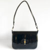 Gucci Black Patent Leather Bamboo Lock Structured Flap Shoulder Bag w/Dustbag