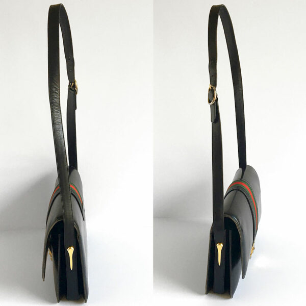 Rare Gucci Black Structured Flap Leather Shoulder Bag w/Iconic Green & Red Webbing
