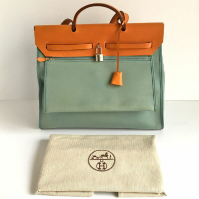 Hermes Ciel/Nature Her Bag MM Zip 39 Handbag w/Original Sales Receipt & Dustbag