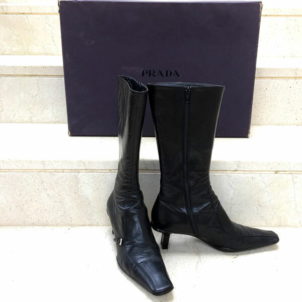 Prada Black Leather Size 38 Medium Heels Boots w/Side Zipper & Rubber Soles Boxed