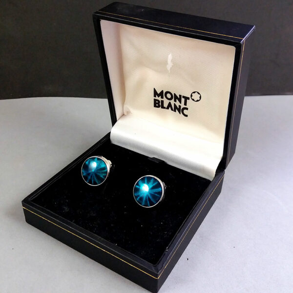Montblanc Green/Silver Headlamp Button Cover Fresnel lens motif Cufflinks in Box