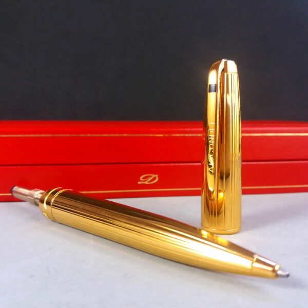S. T. Dupont Olympio Gold Plac OR Godrons Ball Point Pen w/COA in Box