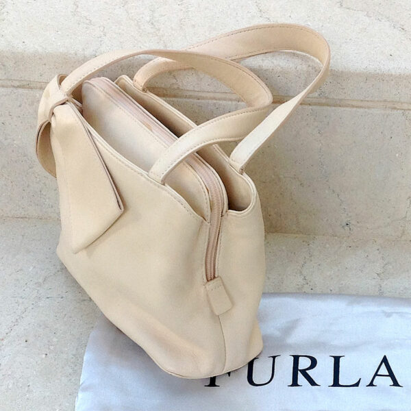 Furla Pink/Peach Small Iridescent Leather Tote/Handbag w/ Bow Detail & Dustbag