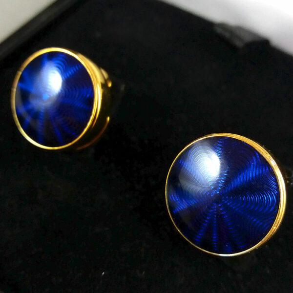 Montblanc Blue/Gold Headlamp Button Cover Fresnel lens motif Cufflinks in Box