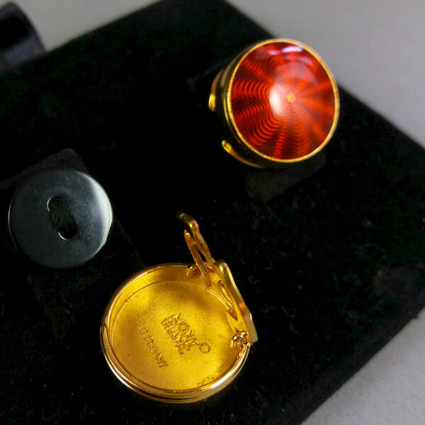 Montblanc Red/Gold Headlamp Button Cover Fresnel lens motif Cufflinks in Box