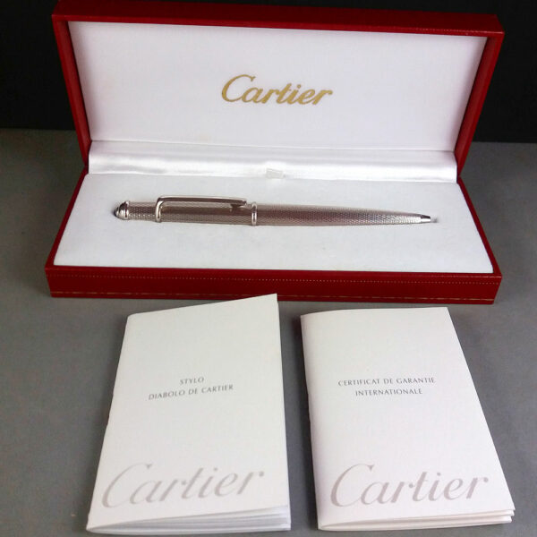 Cartier Diabolo Silver Barley motif Ball Point Pen Blue ink M in Box w/Papers