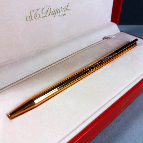 S.T. Dupont Classique Gold/Natural Lacquer Ribbed Ballpoint Pen in Case w/Papers