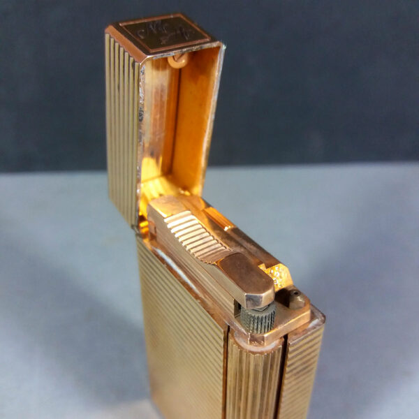S.T. Dupont Line Ligne 1 Gold Plated Horizontal Lines Gas Lighter Working