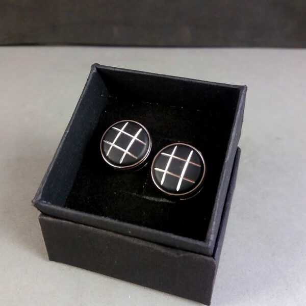 Montblanc Black/Silver Urban Walker Collection Button Cover Cufflinks in Box