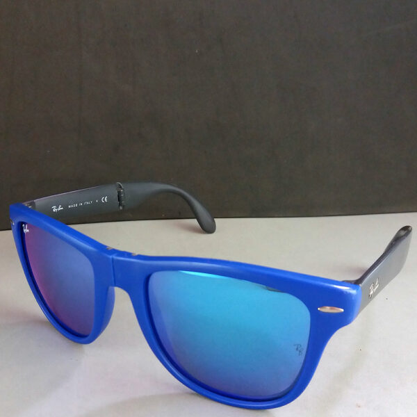 Ray Ban RB 4105 Blue Mirror Wayfarer Folding Collapsible Sunglasses Italy in Case