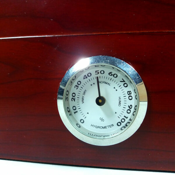 Red Brown Wooden Cigar Humidor 23 x 18,5cm Box w/Hygrometer & Humidifier