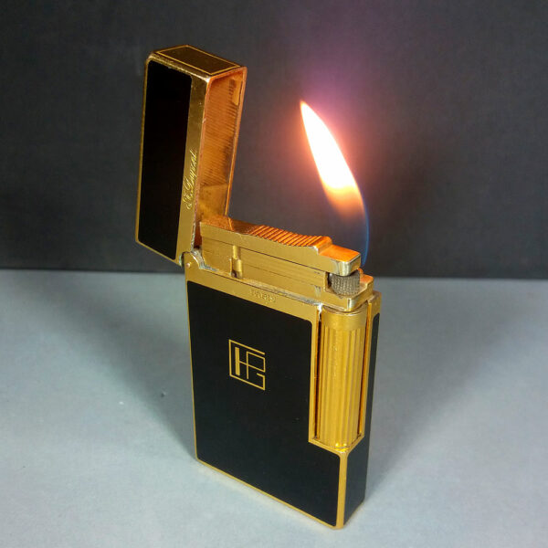 S.T. Dupont Ligne 2 Line Gold/Black Laque de Chine Lacquer Cigarrette Lighter Working
