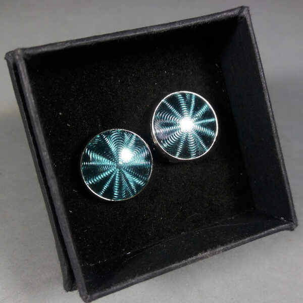 Montblanc Green Teal/Silver Etoile Headlamp Fresnel Lens Motif Button Cover Cufflinks