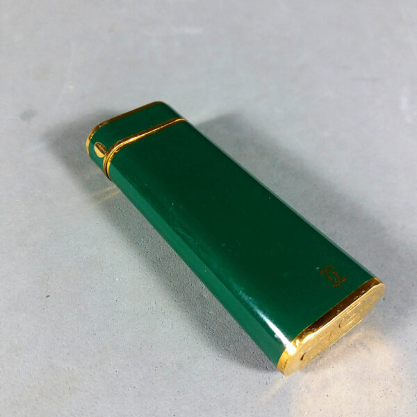 Rare Cartier Gold Plated/Laque de Chine Racing Green Lighter Swiss Made w/COA & Papers