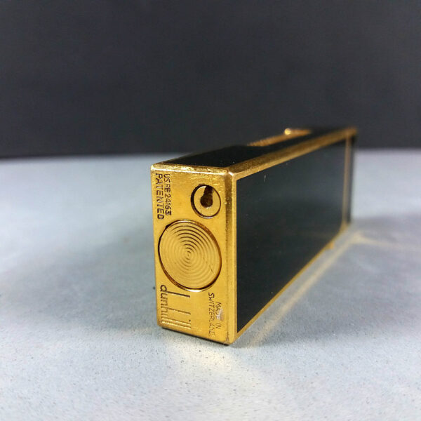 Dunhill Black Laquer Enamel Gold Rollagas Lighter US.RE 24163 SWISS Made