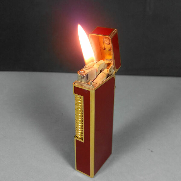 Dunhill Red Laquer Enamel Gold Rollagas Lighter US.RE 24163 SWISS Made