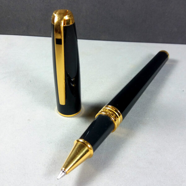 S. T. Dupont Olympio Black Chinese Lacquer Roller Ball Point Pen w/COA Case