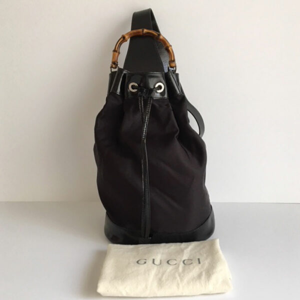 70c43870c524 Gucci Black Leather Nylon One Shoulder Drawstring Backpack Purse w ...