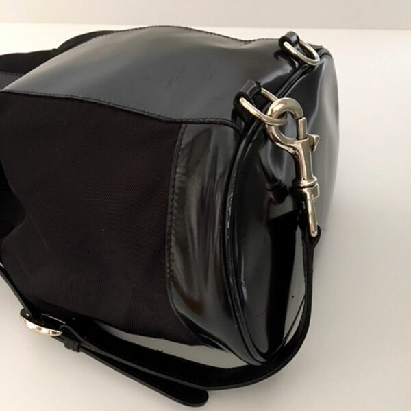 Gucci Black Leather/Nylon One Shoulder Drawstring Backpack Purse w/Bamboo Handle