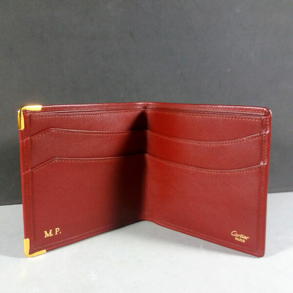 Les must de Cartier CC Logo Bordeaux Portefeuille Leather Bifold Men's Wallet