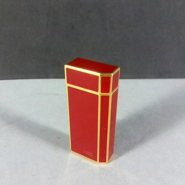 Must de Cartier Small Red Lacquer/Gold Pentagon 5-Sided Lighter Working SWISS Made