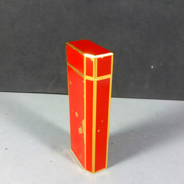 Cartier Paris CC Red Lacquer/Gold Pentagon 5 side Lighter Working SWISS Made
