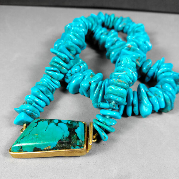 Vintage Turquoise Handcrafted 50cm Chunky Chip Women's Collar Necklace