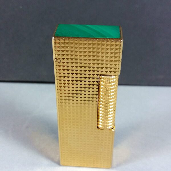 Dunhill Gold w/Green Lacquer Cap US.RE 24163 SWISS Made Rollagas Lighter in Case