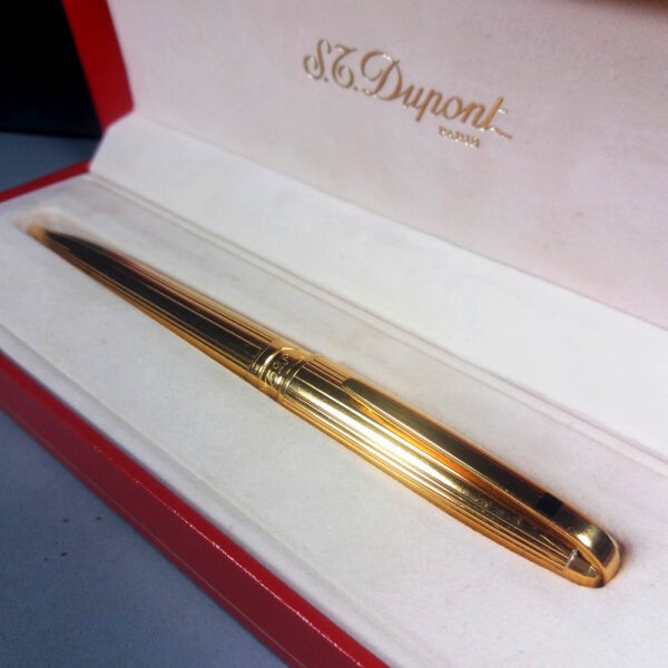S. T. Dupont Olympio Gold Plac OR Godrons Ball Point Pen in Case