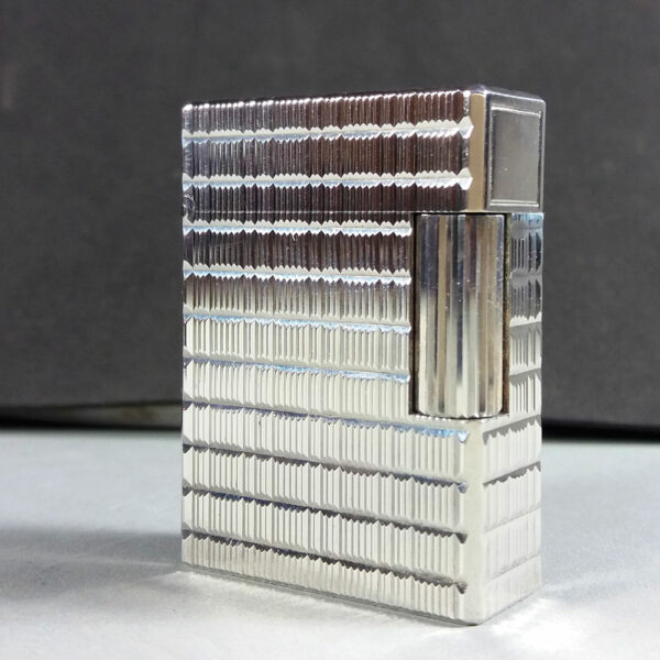 S.T. Dupont Silver Plated Weave Motif Small Ligne 1 Gas Lighter Working in Case