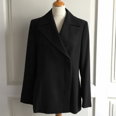 Max Mara Black Virgin Wool Double Breasted size USA12 GB14 Jacket