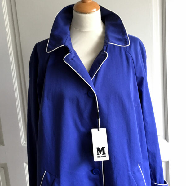 Missoni Light Blue Single Breasted Size 44 Cotton Coat w/White Trim New with Tags