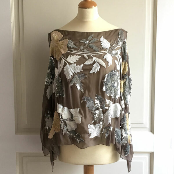 Valentino Taupe Sequin Embellished Floral Motif Silk Sleeveless Top