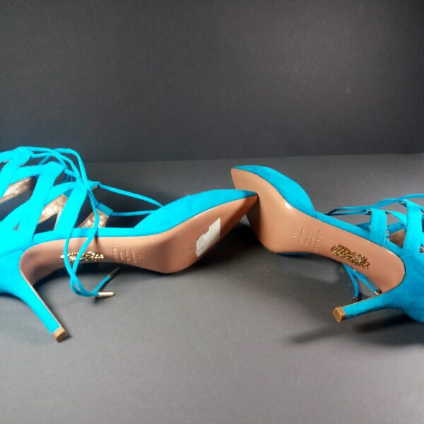 AQUAZZURA Belgravia 75 Turquoise Suede Lace-Up High Heel Ankle Booties Pumps 39
