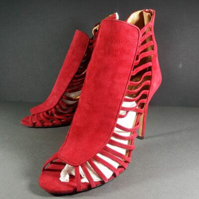 AQUAZZURA Follow Me 105 Crimson Suede Lace-Up High Heel Ankle Booties Pumps 39