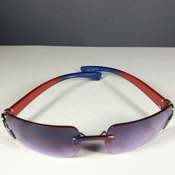 Chanel 4048 CC Logo Blue/Red c.187/90 Women Rimless Sunglasses w/Original Case