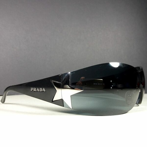 Prada SPR 72G Star Gun metal Silver/Black Unisex Shield Sunglasses w/Case