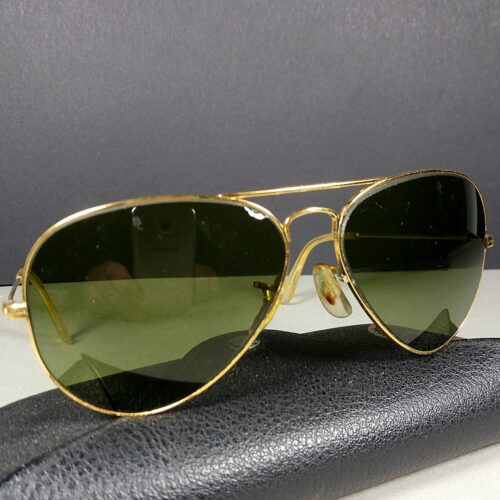 Ray Ban B&L 58-14 Bausch & Lomb Aviator USA Made Green Sunglasses w/Case