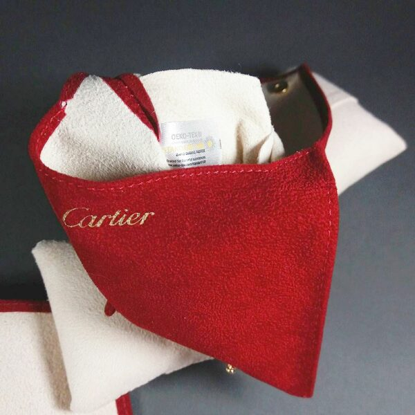 Cartier Red Suede Original Watch/Jewelry Travel Pouch/Case w/Cushion