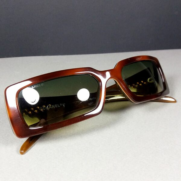 Chanel 5046 c.649/18 135 Brown/Beige CC Logo Quilted Arms Designer Sunglasses