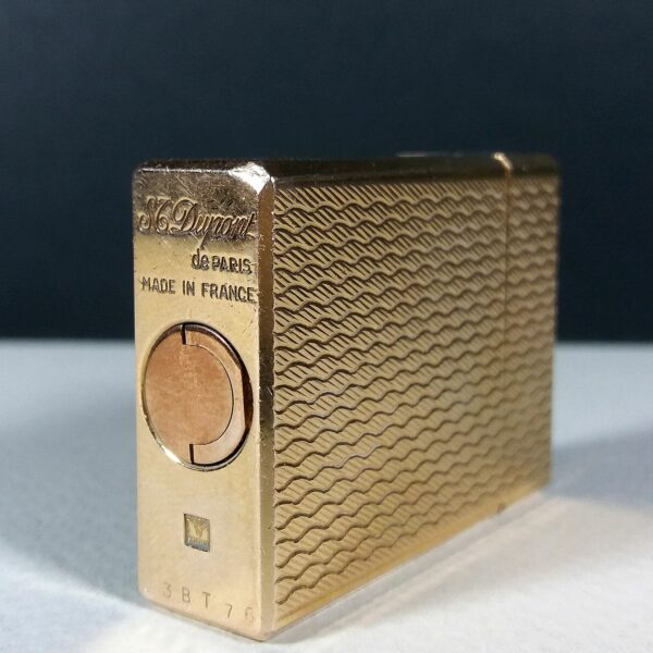 S.T. Dupont Gold Plated Weave Pattern Small Ligne 1 Gas Lighter Working