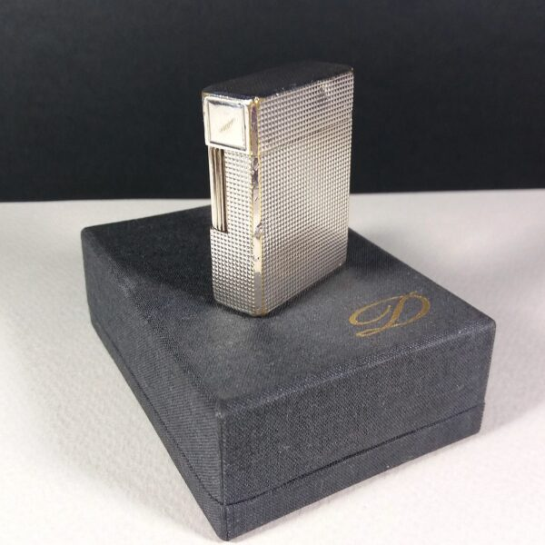 S.T. Dupont Silver Plated Diamond Motif Small Ligne 1 Gas Lighter Working w/Case