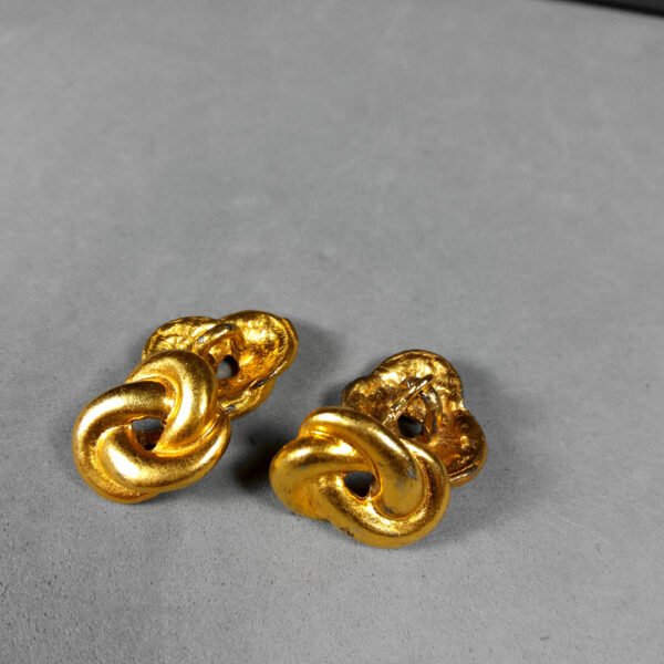 Mid-century Gold-tone Bow/Knot Motif Vintage Men's Shirt Cufflinks