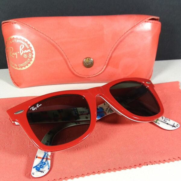 Ray Ban RB 2140 1031 Red Special Series #2 NY MTA Subway Sunglasses w/Case RARE