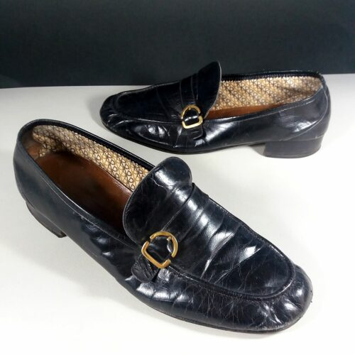 Fratelli Rossetti Black Leather Men's Size 43 Slip-ons Loafers Shoes w/Gold detail AS IS