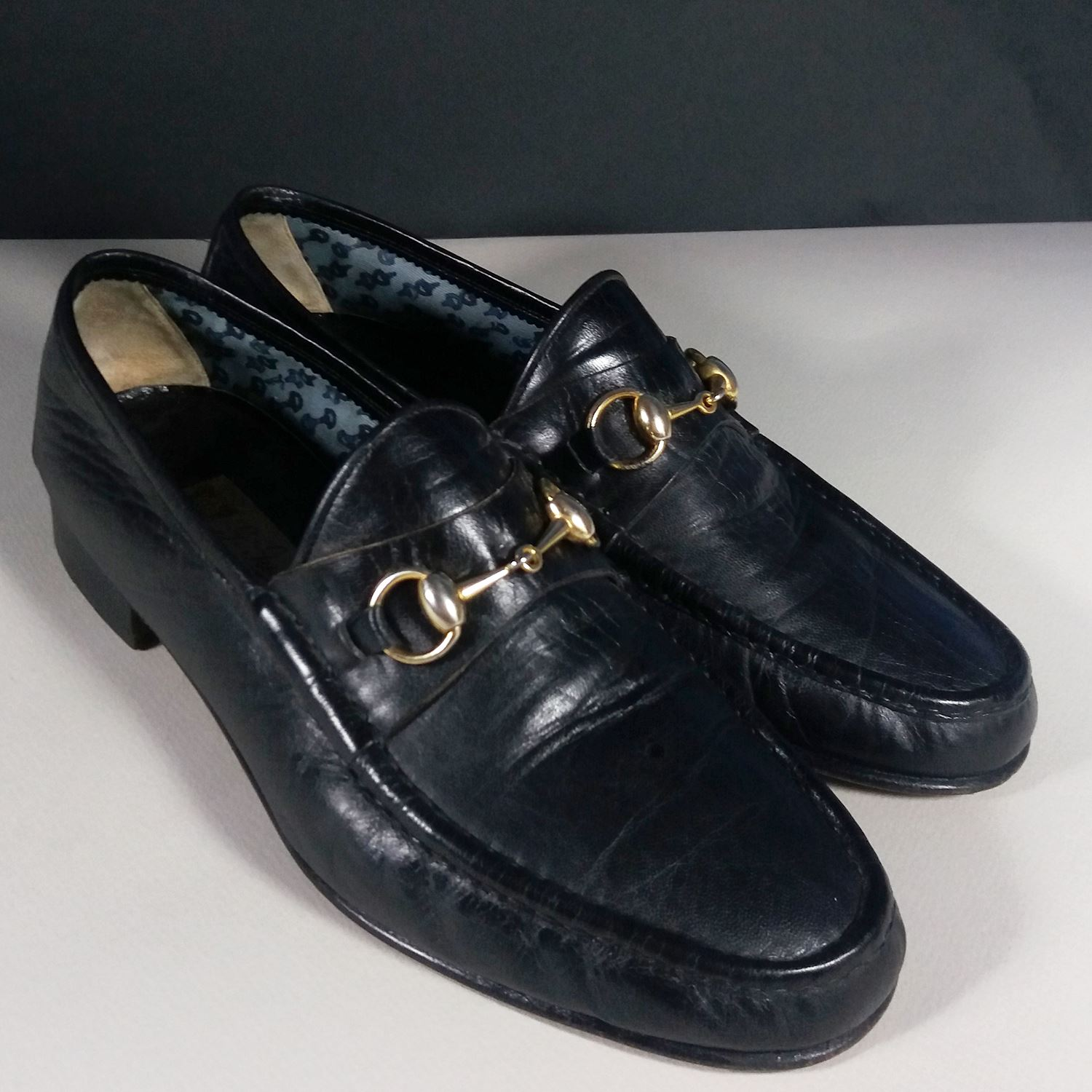 G Gucci GG Men's Black Calfskin Horse Bit 42 1/2 9.5 US Loafers Shoes