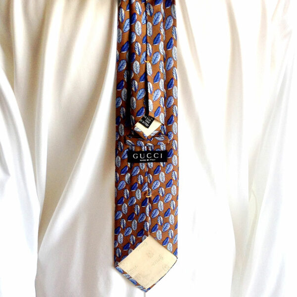 Gucci Light Brown w/ Blue Feathers Print 100% Silk Neck Tie - Italy