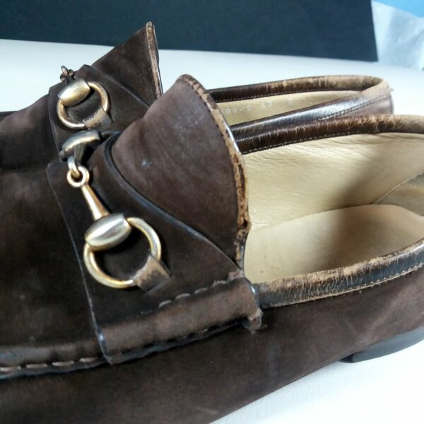 Gucci GG Men's Brown Suede Horse Bit 43 10 US Loafers Shoes