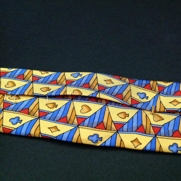 Gucci Yellow Gold Lt Blue Card Suits Pattern Print 100% Silk Neck Tie Italy Made
